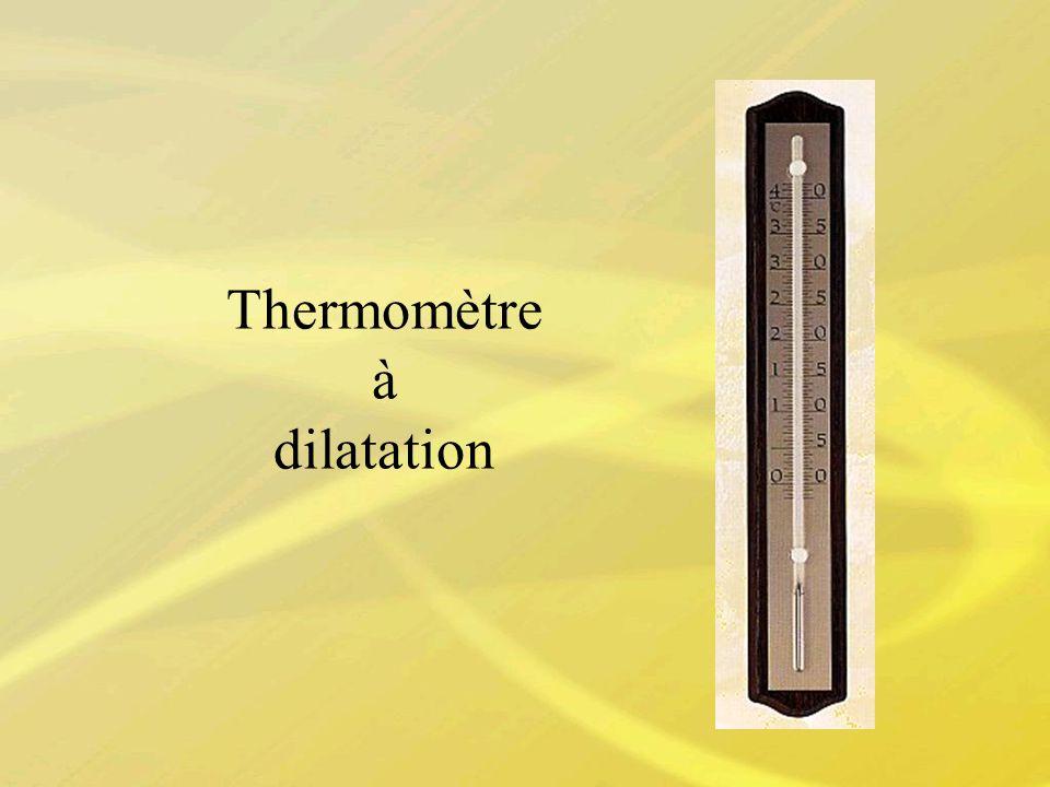 Dilatation des solides en fonction de la température Avantages Très facile dutilisation Prix bas Inconvénients Faible précision Lecture visuelle Temps de réponse élevé