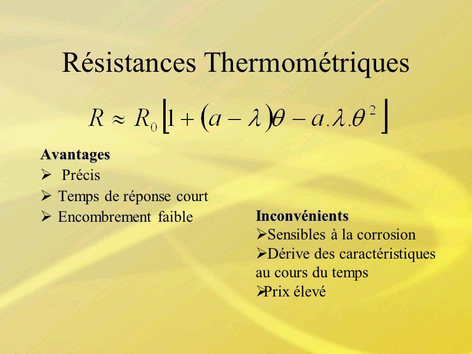 Résistances Thermométriques Avantages Précis Temps de réponse court Encombrement faible Inconvénients Sensibles à la corrosion Dérive des caractéristi