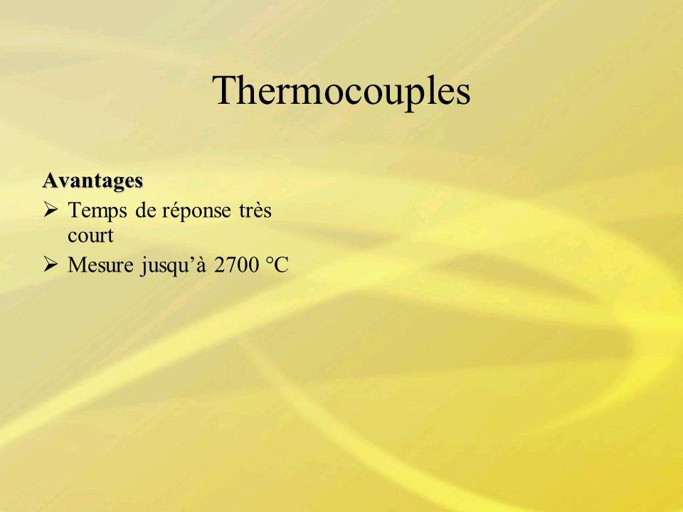 Thermocouples Avantages Temps de réponse très court Mesure jusquà 2700 °C