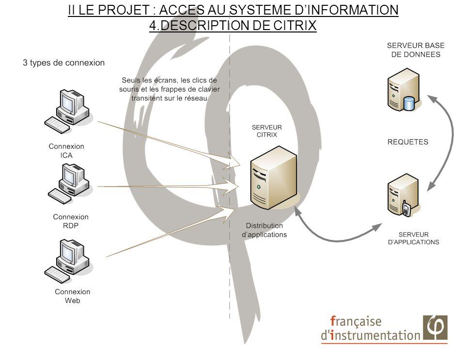 II LE PROJET : ACCES AU SYSTEME DINFORMATION 5. INSTALLATION