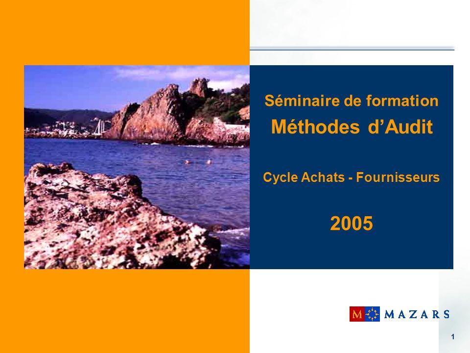 1 Séminaire de formation Méthodes dAudit Cycle Achats - Fournisseurs 2005