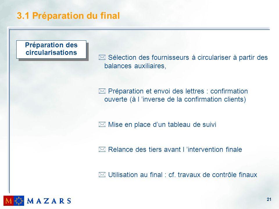 21 3.1 Préparation du final Préparation des circularisations * Sélection des fournisseurs à circulariser à partir des balances auxiliaires, * Préparat