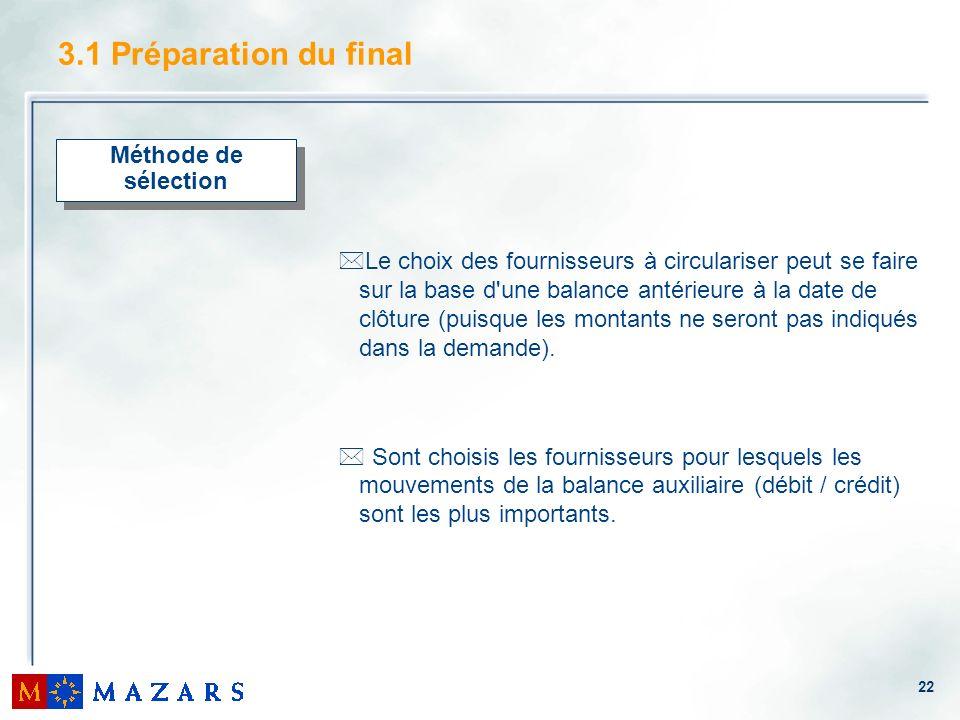 22 3.1 Préparation du final Méthode de sélection *Le choix des fournisseurs à circulariser peut se faire sur la base d'une balance antérieure à la dat