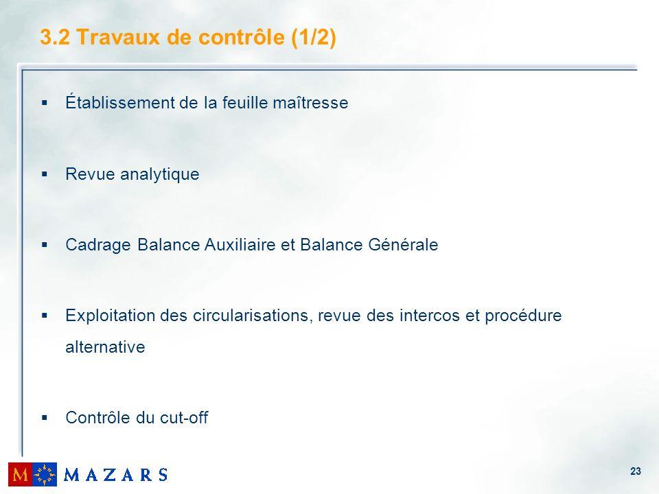 23 3.2 Travaux de contrôle (1/2) Établissement de la feuille maîtresse Revue analytique Cadrage Balance Auxiliaire et Balance Générale Exploitation de