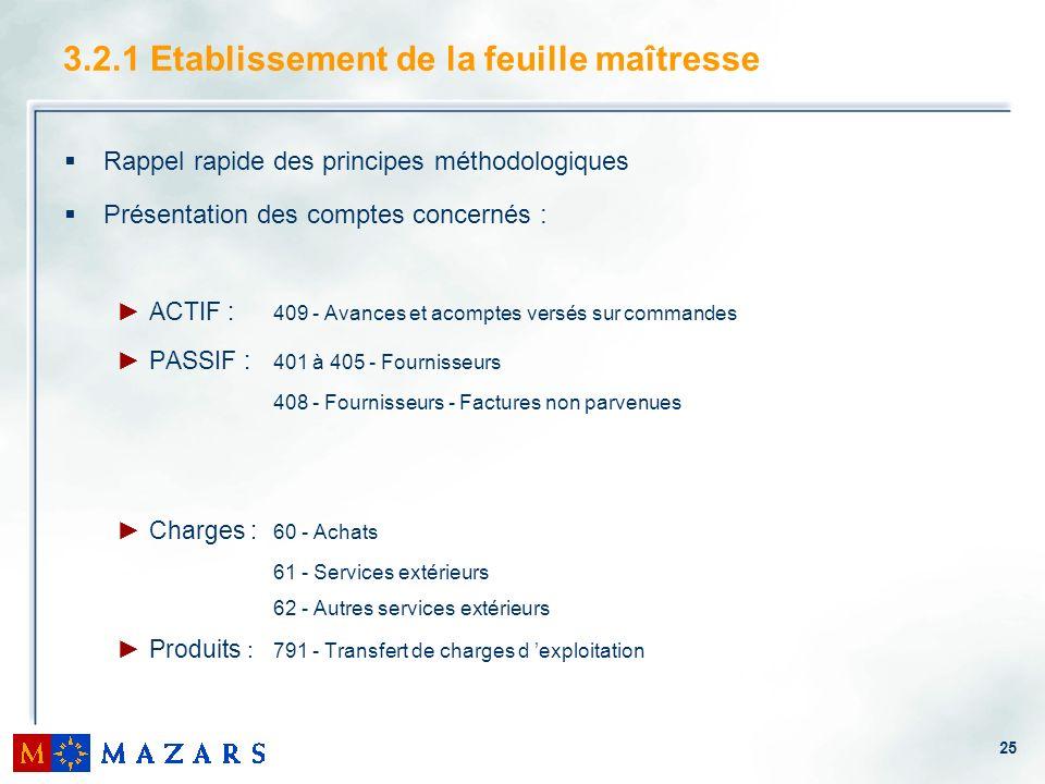 25 3.2.1 Etablissement de la feuille maîtresse Rappel rapide des principes méthodologiques Présentation des comptes concernés : ACTIF : 409 - Avances