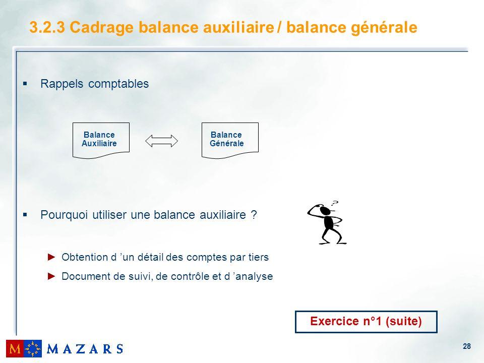 28 3.2.3 Cadrage balance auxiliaire / balance générale Rappels comptables Pourquoi utiliser une balance auxiliaire ? Obtention d un détail des comptes