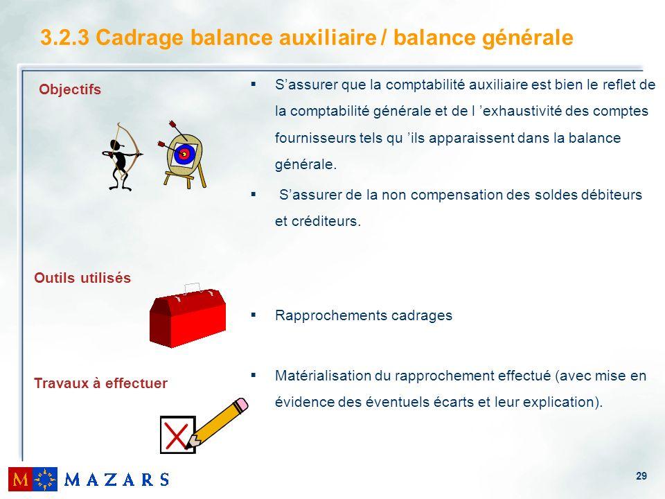 29 3.2.3 Cadrage balance auxiliaire / balance générale Sassurer que la comptabilité auxiliaire est bien le reflet de la comptabilité générale et de l