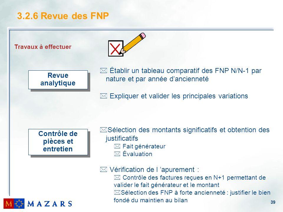 39 3.2.6 Revue des FNP Travaux à effectuer * Établir un tableau comparatif des FNP N/N-1 par nature et par année dancienneté * Expliquer et valider le