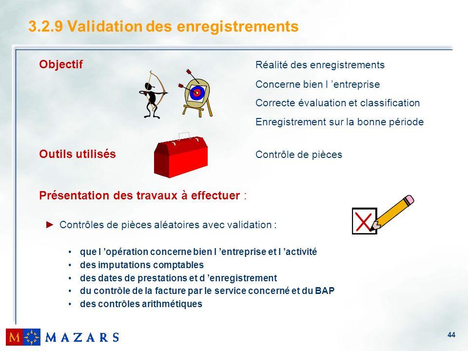 44 3.2.9 Validation des enregistrements Objectif Réalité des enregistrements Concerne bien l entreprise Correcte évaluation et classification Enregist
