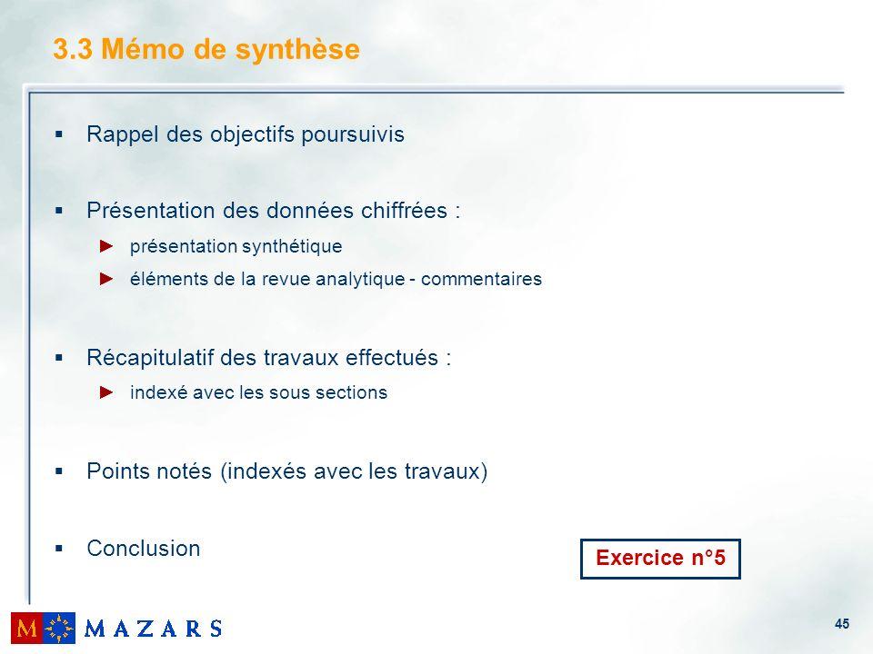 45 3.3 Mémo de synthèse Rappel des objectifs poursuivis Présentation des données chiffrées : présentation synthétique éléments de la revue analytique