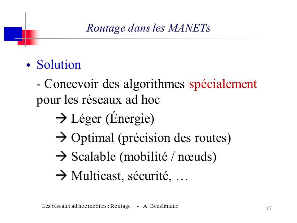 Les réseaux ad hoc mobiles : Routage - A. Benslimane 16 Les algorithmes classiques dans les MANETs w Dynamique de la topologie Changements fréquents d