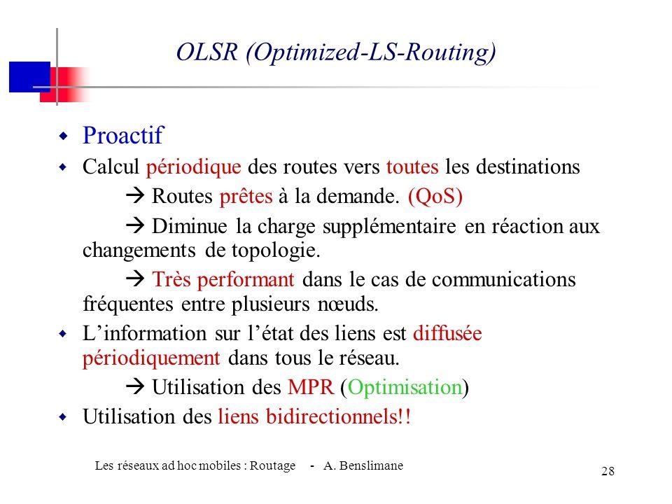 Les réseaux ad hoc mobiles : Routage - A. Benslimane 27 CGSR (Clusterhead Gateway Switch Routing ) w CGSR = DSDV + routage hiérarchique w (depuis le c