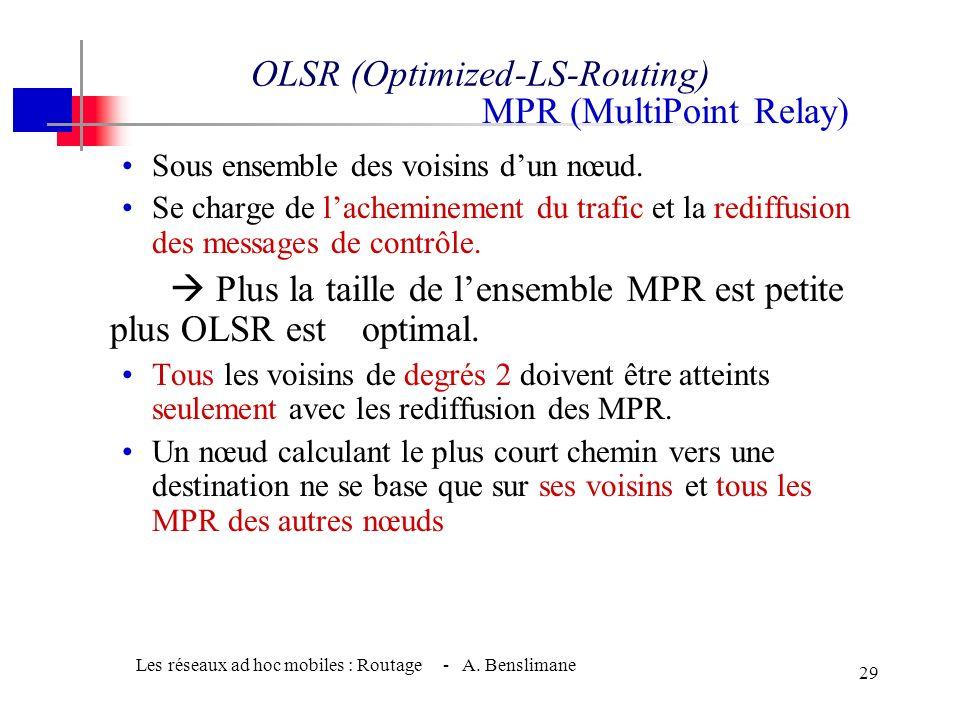 Les réseaux ad hoc mobiles : Routage - A. Benslimane 28 OLSR (Optimized-LS-Routing) w Proactif w Calcul périodique des routes vers toutes les destinat
