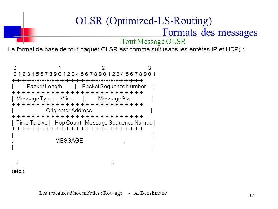 Les réseaux ad hoc mobiles : Routage - A. Benslimane 31 w Le routage nest rien dautre que linondation périodique avec des messages TC (Topology Contro