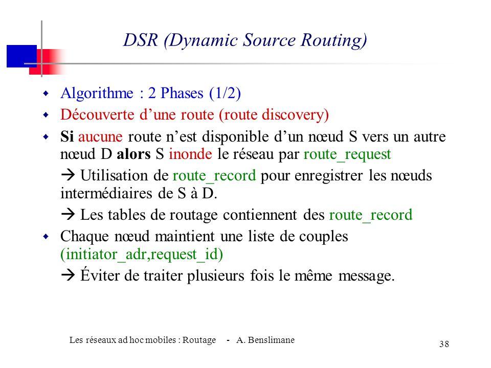 Les réseaux ad hoc mobiles : Routage - A. Benslimane 37 DSR (Dynamic Source Routing) w Réactif w Calcul des routes à la demande Phase de route discove