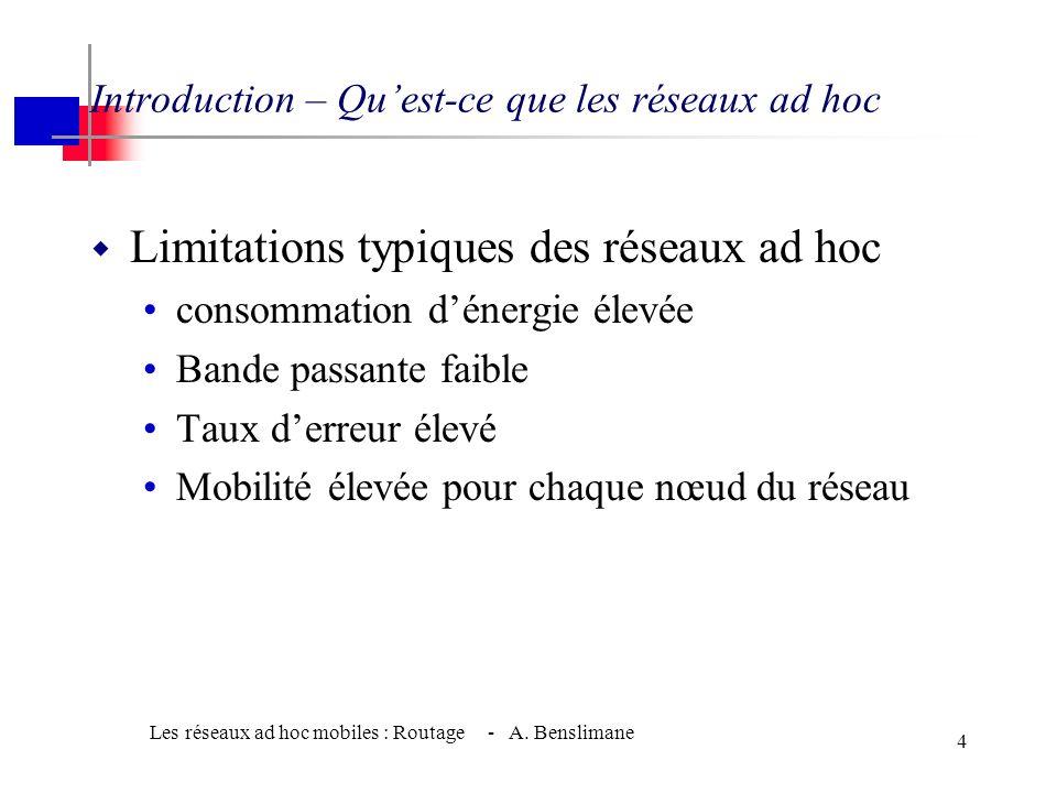 Les réseaux ad hoc mobiles : Routage - A. Benslimane 3 Introduction – Quest-ce que les réseaux ad hoc Exemple dapplication des réseaux ad-hoc : - Rech