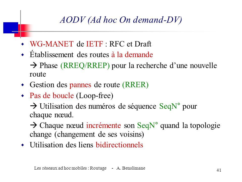 Les réseaux ad hoc mobiles : Routage - A. Benslimane 40 w Maintenance des routes (Route Maintenance) w Maintenance des routes par lenvoi de paquets ro