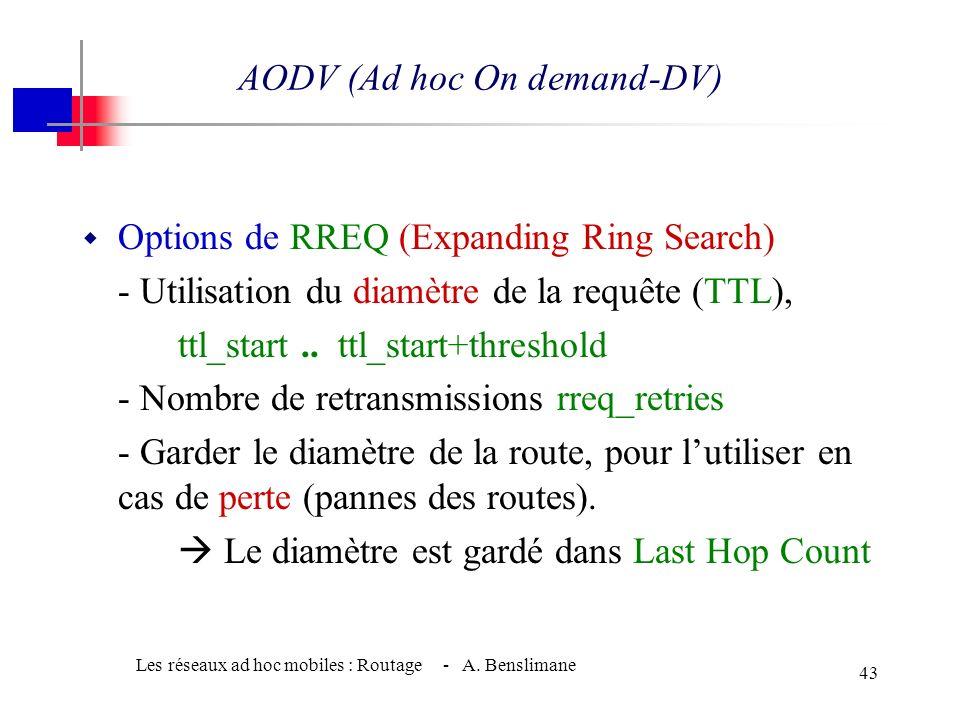 Les réseaux ad hoc mobiles : Routage - A. Benslimane 42 w Chaque nœud incrémente son SeqN° dès quil découvre un changement de topologie. (Le nombre de
