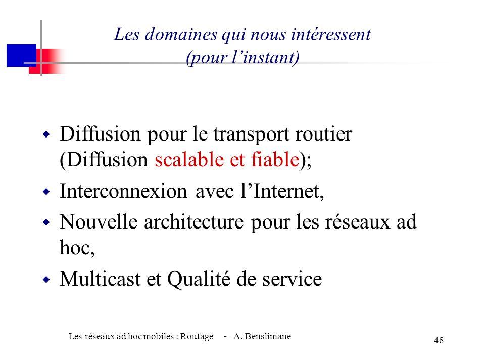 Les réseaux ad hoc mobiles : Routage - A. Benslimane 47 Dautres recherches dans le routage w Routage supportant la QoS; w Routage économisant la conso