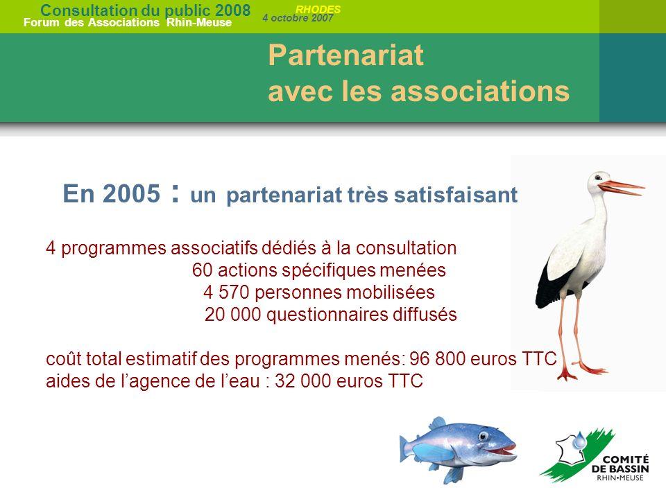 Consultation du public 2008 Forum des Associations Rhin-Meuse 4 octobre 2007 RHODES En 2005 : un partenariat très satisfaisant 4 programmes associatif