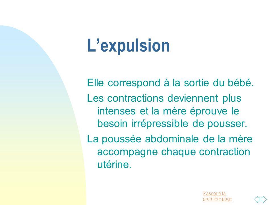 Passer à la première page Lexpulsion Elle correspond à la sortie du bébé. Les contractions deviennent plus intenses et la mère éprouve le besoin irrép