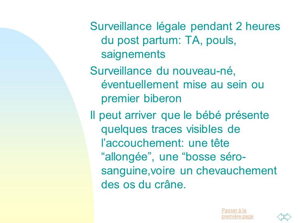 Passer à la première page Surveillance légale pendant 2 heures du post partum: TA, pouls, saignements Surveillance du nouveau-né, éventuellement mise