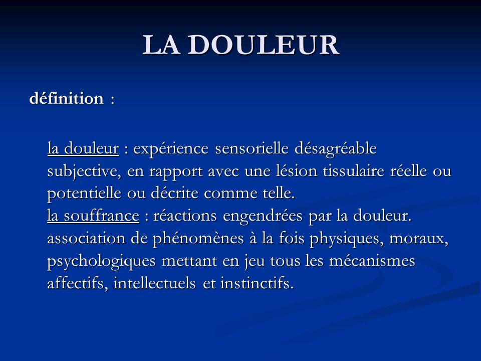 LA DOULEUR définition : la douleur : expérience sensorielle désagréable subjective, en rapport avec une lésion tissulaire réelle ou potentielle ou déc