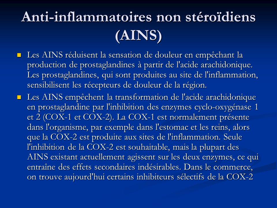 Anti-inflammatoires non stéroïdiens (AINS) Les AINS réduisent la sensation de douleur en empêchant la production de prostaglandines à partir de l'acid