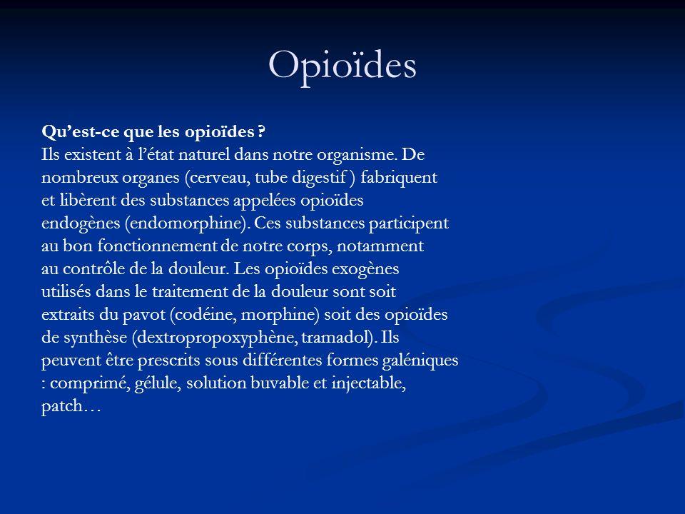 Opioïdes Quest-ce que les opioïdes ? Ils existent à létat naturel dans notre organisme. De nombreux organes (cerveau, tube digestif ) fabriquent et li