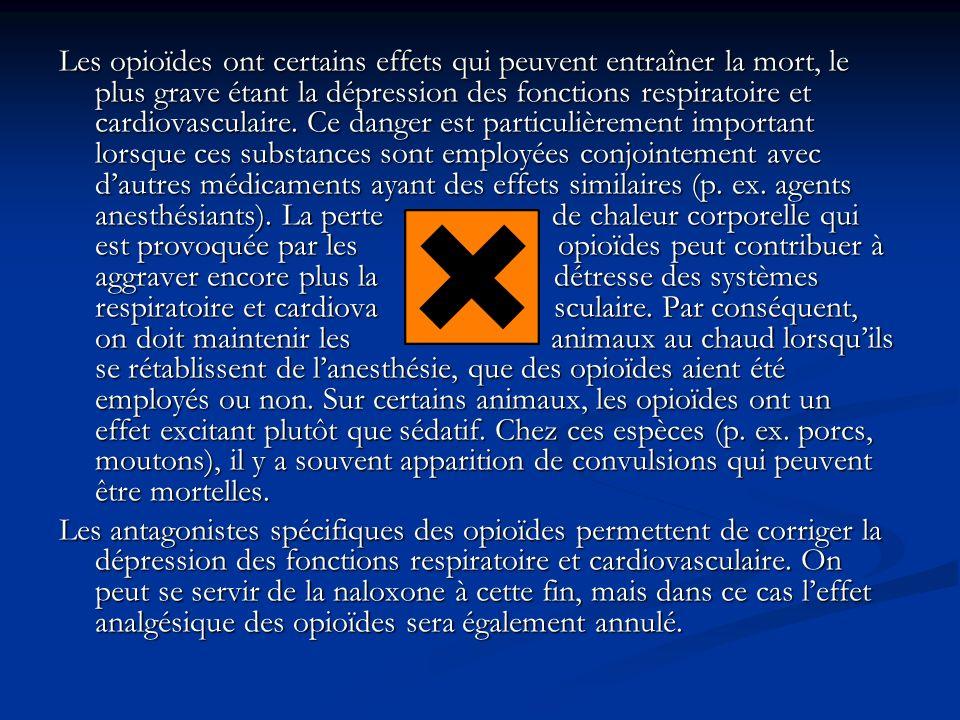 Les opioïdes ont certains effets qui peuvent entraîner la mort, le plus grave étant la dépression des fonctions respiratoire et cardiovasculaire. Ce d