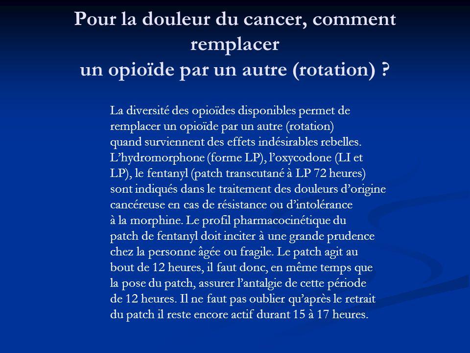 Pour la douleur du cancer, comment remplacer un opioïde par un autre (rotation) ? La diversité des opioïdes disponibles permet de remplacer un opioïde
