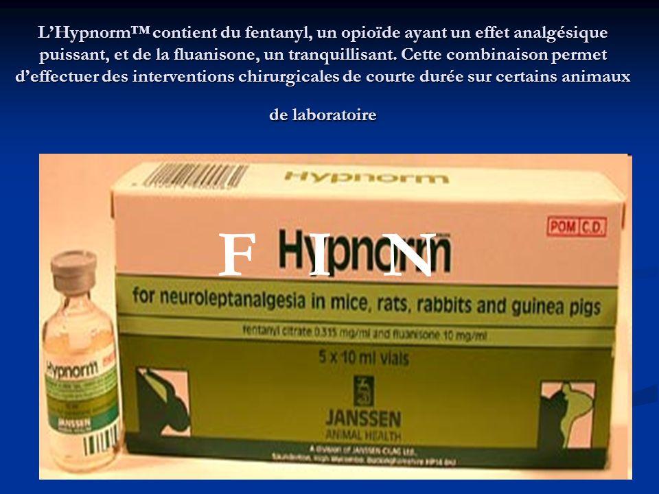 LHypnorm contient du fentanyl, un opioïde ayant un effet analgésique puissant, et de la fluanisone, un tranquillisant. Cette combinaison permet deffec