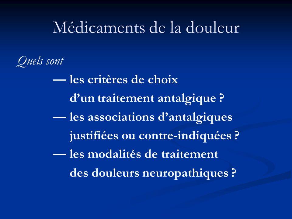Médicaments de la douleur Quels sont les critères de choix dun traitement antalgique ? les associations dantalgiques justifiées ou contre-indiquées ?