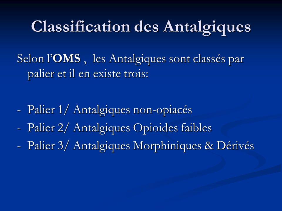 Classification des Antalgiques Selon lOMS, les Antalgiques sont classés par palier et il en existe trois: - Palier 1/ Antalgiques non-opiacés - Palier