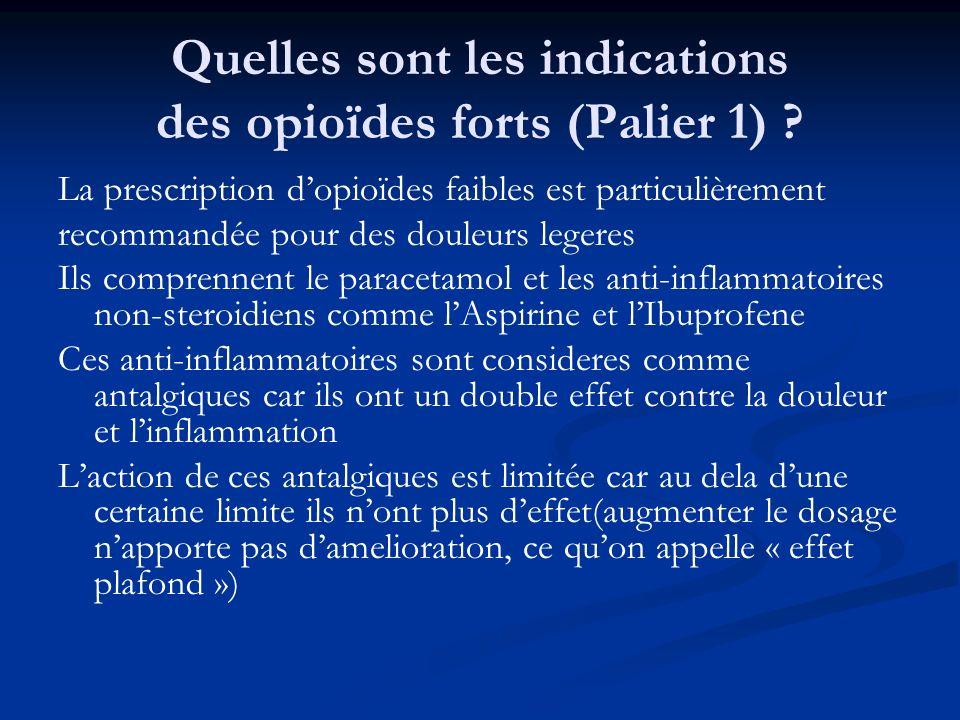 Quelles sont les indications des opioïdes forts (Palier 1) ? La prescription dopioïdes faibles est particulièrement recommandée pour des douleurs lege