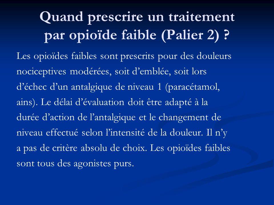 Quand prescrire un traitement par opioïde faible (Palier 2) ? Les opioïdes faibles sont prescrits pour des douleurs nociceptives modérées, soit demblé