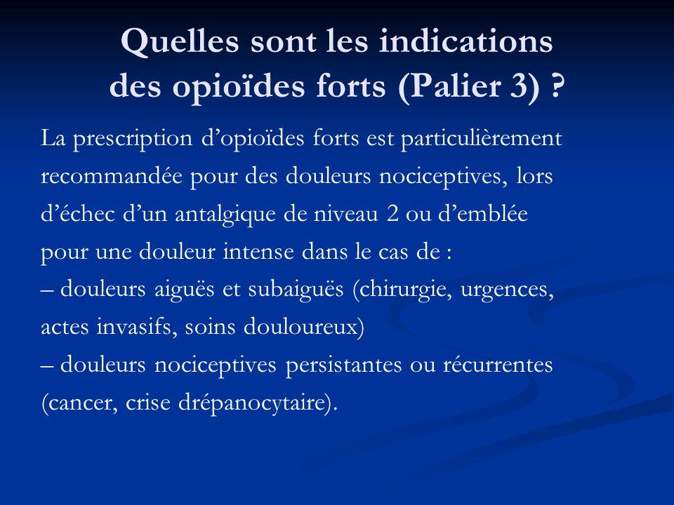 Quelles sont les indications des opioïdes forts (Palier 3) ? La prescription dopioïdes forts est particulièrement recommandée pour des douleurs nocice