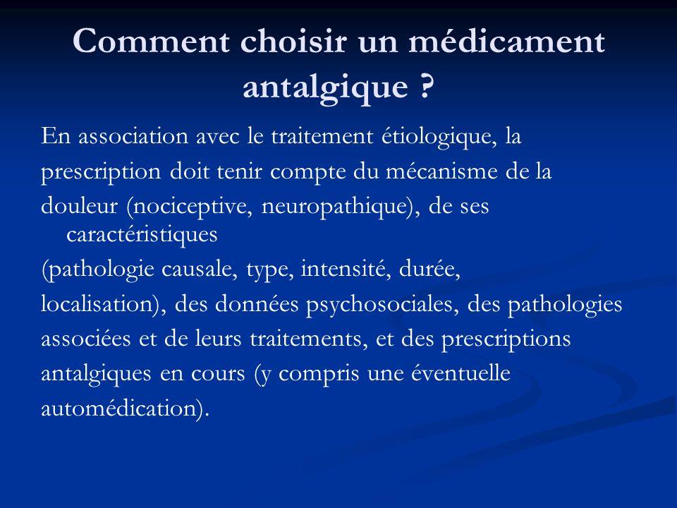 Comment choisir un médicament antalgique ? En association avec le traitement étiologique, la prescription doit tenir compte du mécanisme de la douleur