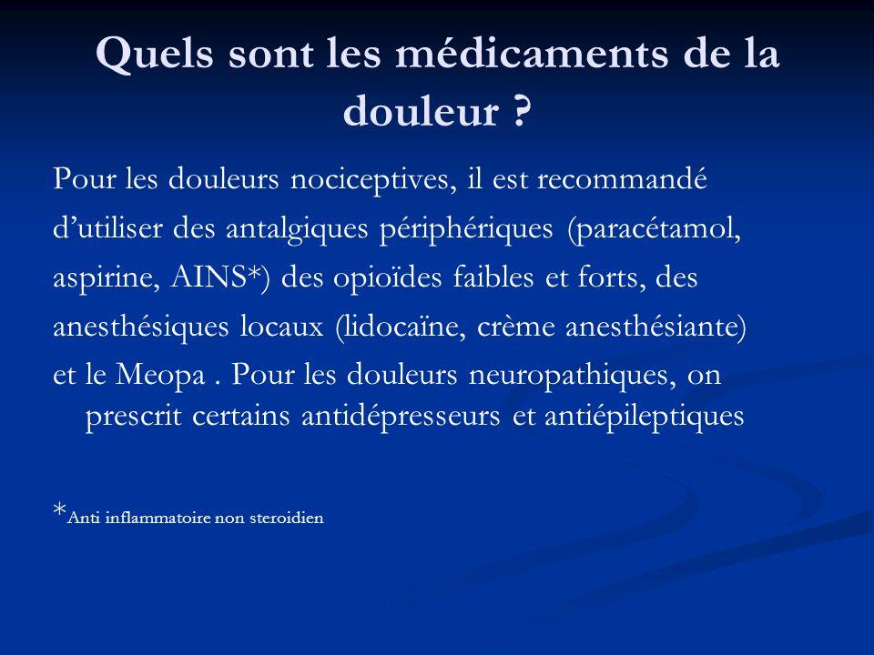 Quels sont les médicaments de la douleur ? Pour les douleurs nociceptives, il est recommandé dutiliser des antalgiques périphériques (paracétamol, asp