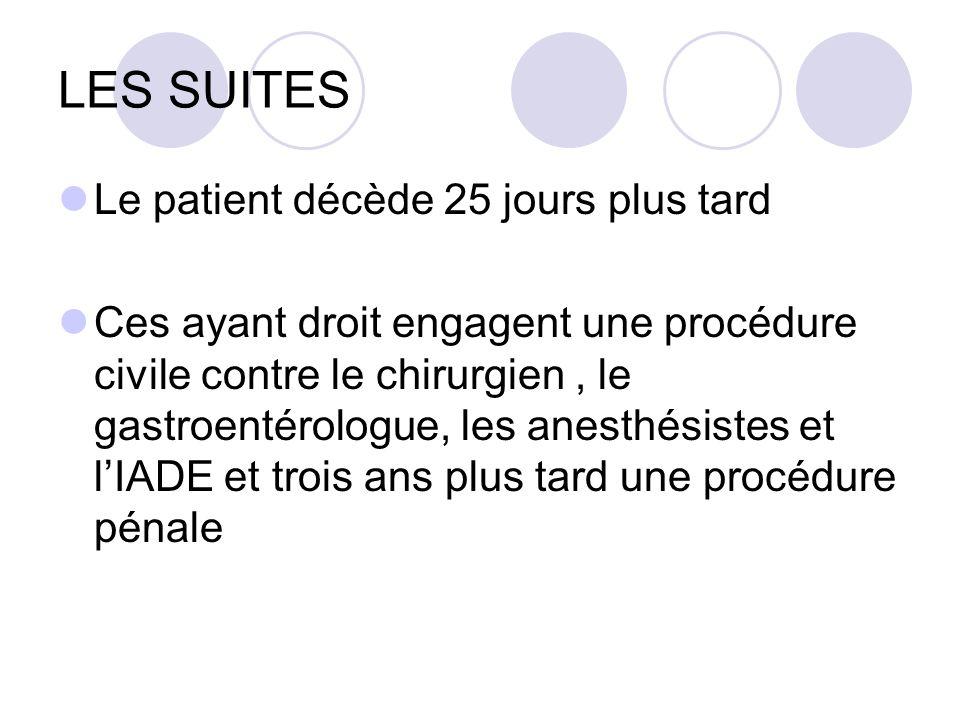 LES SUITES Le patient décède 25 jours plus tard Ces ayant droit engagent une procédure civile contre le chirurgien, le gastroentérologue, les anesthés