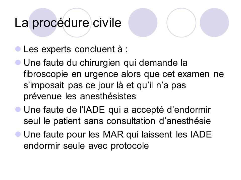 La procédure civile Les experts concluent à : Une faute du chirurgien qui demande la fibroscopie en urgence alors que cet examen ne simposait pas ce j