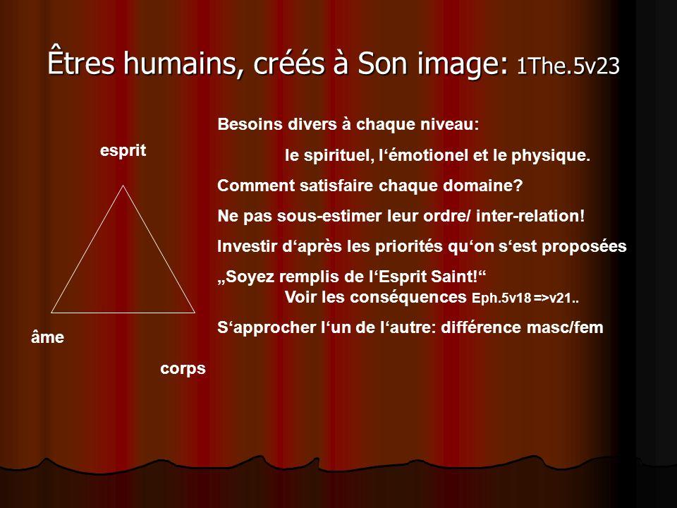 Êtres humains, créés à Son image: 1The.5v23 esprit âme corps Besoins divers à chaque niveau: le spirituel, lémotionel et le physique. Comment satisfai