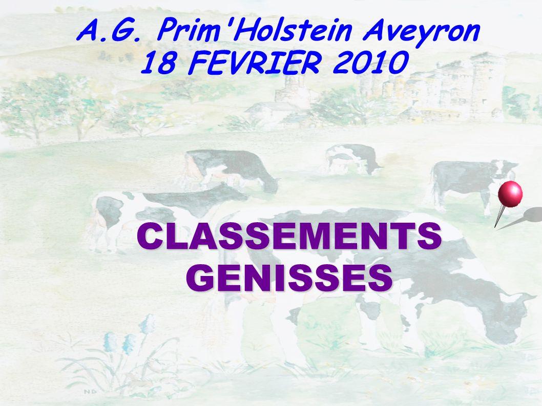CLASSEMENTS GENISSES A.G. Prim'Holstein Aveyron 18 FEVRIER 2010