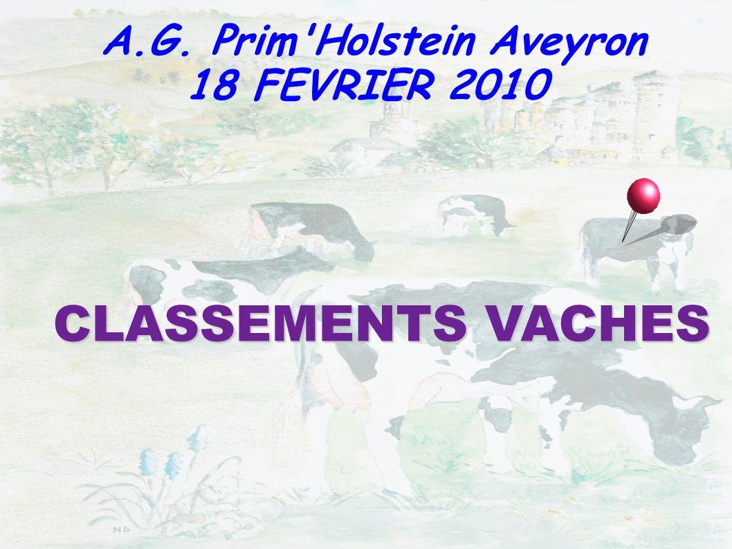 CLASSEMENTS VACHES A.G. Prim'Holstein Aveyron 18 FEVRIER 2010