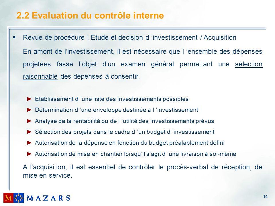 14 2.2 Evaluation du contrôle interne Revue de procédure : Etude et décision d investissement / Acquisition En amont de linvestissement, il est nécess