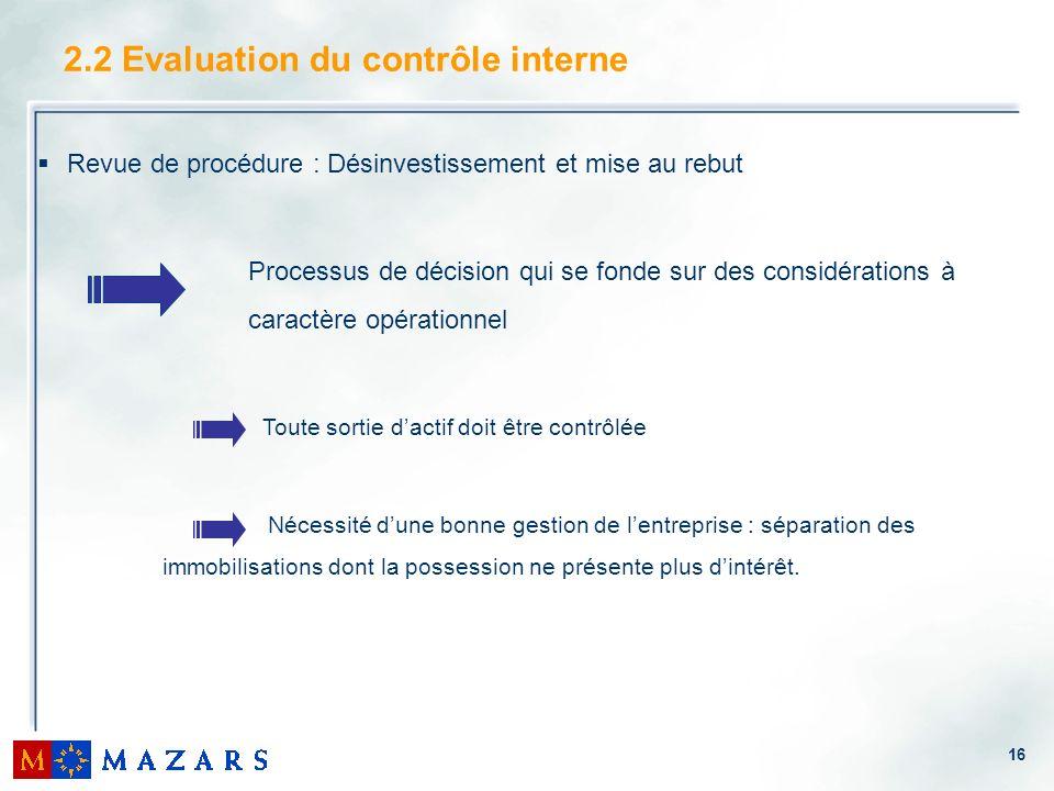 16 2.2 Evaluation du contrôle interne Revue de procédure : Désinvestissement et mise au rebut Processus de décision qui se fonde sur des considération
