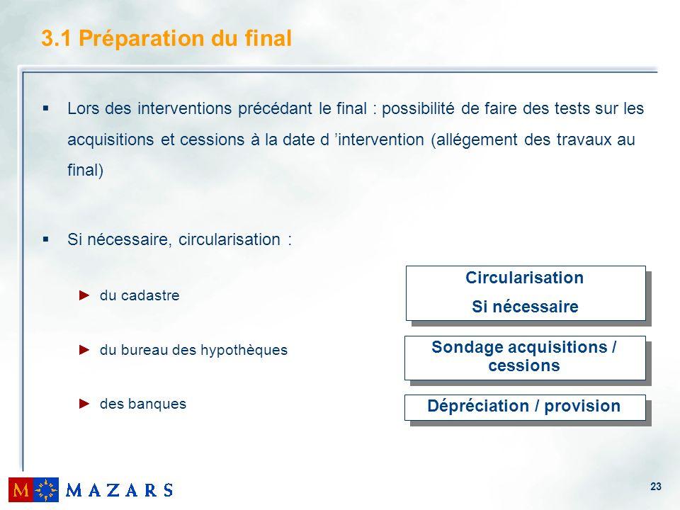 23 3.1 Préparation du final Lors des interventions précédant le final : possibilité de faire des tests sur les acquisitions et cessions à la date d in