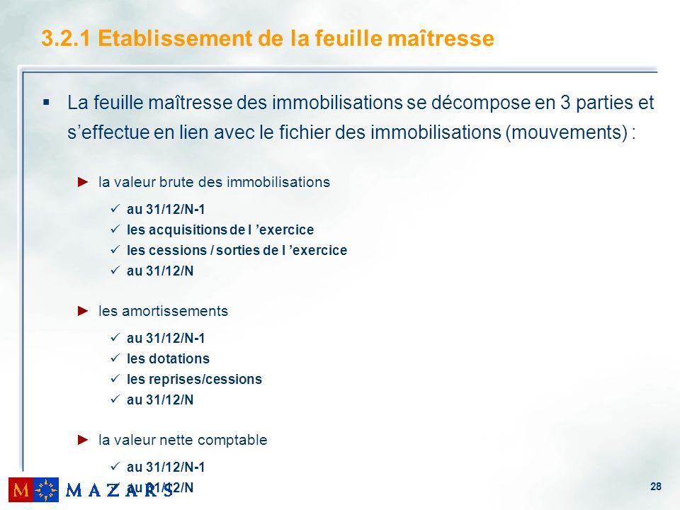 28 3.2.1 Etablissement de la feuille maîtresse La feuille maîtresse des immobilisations se décompose en 3 parties et seffectue en lien avec le fichier