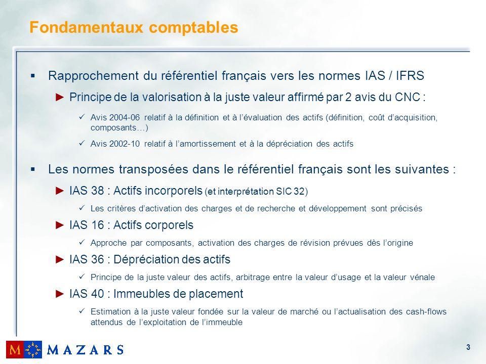 4 Fondamentaux comptables Dautres normes peuvent également impacter les comptes des entreprises : IAS 17 : Contrats de location (et interprétations SIC 15 et 27) Activation des contrats de location financière Activation des contrats de location simple dans le respect de certaines conditions (IFRIC 4) IAS 23 : Coûts demprunts Option pour lactivation des coûts demprunts dans le coût dacquisition de lactif IFRS 5 : Actifs non courant détenus en vue de la vente et activités abandonnées (et interprétation IFRIC 1) Activation dès lacquisition des biens du coût de démantèlement et amortissement sur le même rythme que lactif concerné