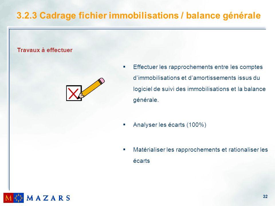 32 3.2.3 Cadrage fichier immobilisations / balance générale Effectuer les rapprochements entre les comptes dimmobilisations et damortissements issus d